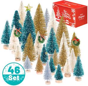 Whaline 46 Set Mini Christmas Trees Artificial Frosted Sisal Trees, Bottle Brush