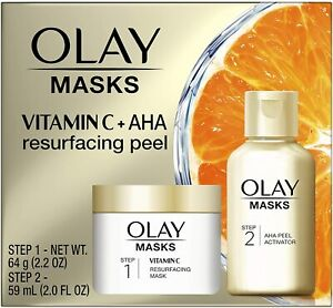 Olay 2-STEP RESURFACING MASK & AHA & SILICA PEEL with Vitamin C Boxed Kit