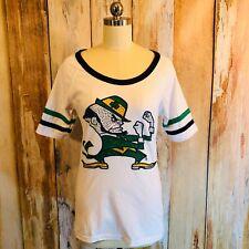 E5 Notre Dame Fighting Irish Tee Shirt Bedazzled Crystals Cotton SS sz M EUC!