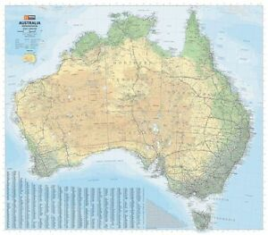 MAP OF AUSTRALIA (ROAD & TERRAIN) POSTER (87X100CM) WALL CHART PICTURE PRINT