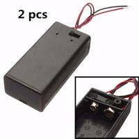 2pcs 9V Enclosed Battery Box Case Holder With ON/OFF Power Switch Wire