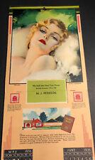1936 Jeddo Coal Art Deco Calendar Rolf Armstrong Pin Up Girl