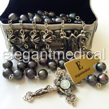 Black Tahitian Pearl Bali Sterling Silver Cross Beads Rosary box necklace Cross