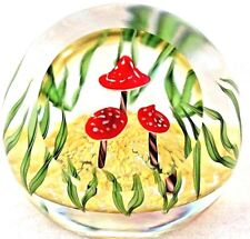 LARGE Gorgeous STEVEN LUNDBERG Studios TOADSTOOL TRIO Glass PAPERWEIGHT Box COA