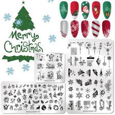 NICOLE DIARY 3pcs Nail Stamping Plates Set Snowflakes Templates Christmas Gift