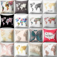Coussins Home World Map Printed Throw Pillow Case Sofa Waist Cushion Cover Decor