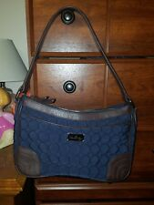 Vera Bradley Shoulder Bag Wildwood Park Microfiber w/ Brown Leather Classic Navy