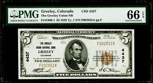 $5 1929 Ty. National Bank Note Greeley, Colorado PMG 66 EPQ Gem Uncirculated