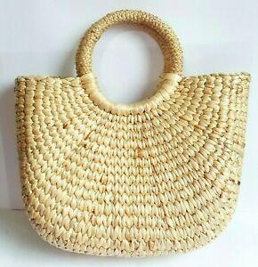Summer Handle Straw Woven Handbag Half Moon Bag Natural Grass Craft Lady Beach