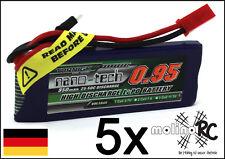 5x Turnigy nano-tech 950mah 1S 25~50C Lipo Akku NEU OVP 3,7V Walkera V120 X100