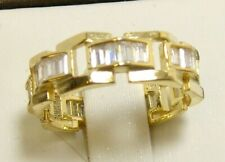 Eternity Band Ring Size 6 Gold 925 Sterling Silver Simulated Baguette Diamond