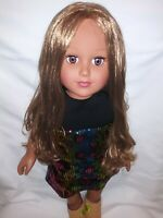 """2013 Cititoy 18"""" Beautiful African-American Doll with Brown Eyes and Long Hair"""