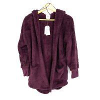 S NWT Hippie Rose Juniors Plush Set Hooded Cardigan Sweater Ethereal Plum C104