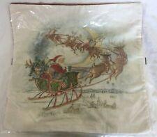 "Pottery Barn Nostalgic Santa Sleigh Pillow Cover 20"" NWT NLA"