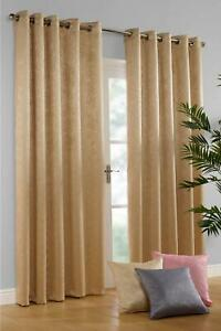 "GEM EMBOSSED WOVEN EYELET BLOCKOUT PAIR OF CURTAINS 90"" CARAMEL"