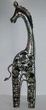 Art Deco Metal Figural Statue Giraffe Silver 23.5� x 7� Embellished Gemstones Ec