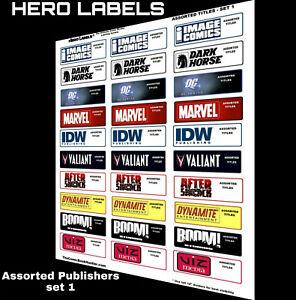 🔥HERO LABELS BRAND Comic Book Box Divider Labels Assorted Publishers set 1