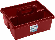 DEEP RED TACK TRAY / TACK BOX FOR USE WHEN GROOMING HORSES, MADE IN THE UK