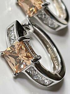 'Diamonique @ QVC' sterling silver 925 & CZ cluster hoop hooped earrings trophy