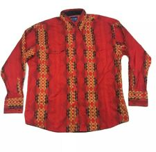 Wrangler Western Shirt Mens XL Red Aztec Southwest  Pearl Snap Long Sleeve