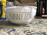 """RARE VHTF Rae Dunn Easter """"Bunny Love Ivory 10"""" MIXING BOWL & Pink Hip Hop WISK"""