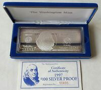 $100 Franklin Quarter-Pound Silver Proof  w/ Box and COA 1997