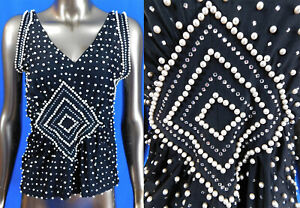 Vintage 1960s Mod London Pearly Queen Style Rhinestone Pearl Beaded Black Top