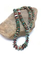 "Native American Navajo GREEN Turquoise Sterling Silver Necklace 28"" 3070"