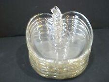 Vintage/Hazel Atlas/ORCHARD Collection/Clear Glass/ Plates/APPLE Shaped/ 7pcs.