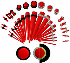 36 PC Set Ear Stretching Tapers Plugs Starter Kit 00g - 14 g Red Blue Green Pink
