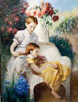 "Original Vintage Oil Painting ""Girls In Garden"" Signed, Linen Canvas, 30x40"