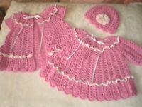 Handmade Precious Pink 3 Piece Dress Set for Baby Girls to 12 Months