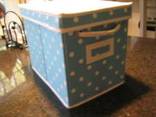 POTTERY BARN TEEN Blue Polka Dot DOTTIE Canvas Storage Bin  Box with Lid