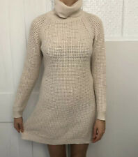 M&S Women Dress Size 10 Cream Knee Length Knit Jumper Roll Neck Aran Alpaca Mix