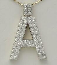 10k YELLOW GOLD 2.50ct ROUND DIAMOND 3D LETTER A INITIAL PENDANT 10.7g 1.44""