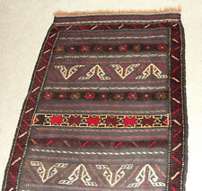 "73"" Rare Antique Rug Afghanistan Handmade Knotted Wool Klim Carpet Persian Kuchi"