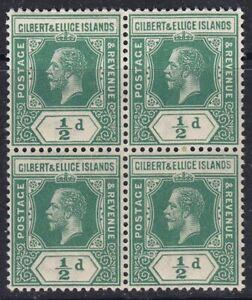 GILBERT & ELLICE 1912 SG12 ½d GREEN MNH BLOCK OF FOUR
