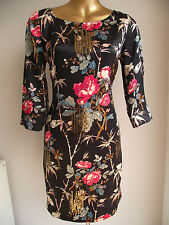 MONSOON BAMBOO FLORAL BLACK GOLD SEQUIN SUMMER HOLIDAY SILK TUNIC DRESS 10