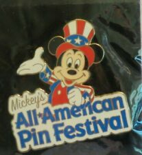 DISNEY DLR ALL AMERICAN PIN TRADING FESTIVAL MICKEY MOUSE RED WHITE BLUE PIN