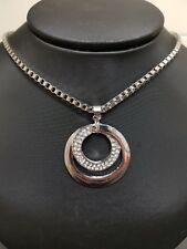 SILVER PLATED AND CZ SWIRL NECKLACE WITH GIFT POUCH