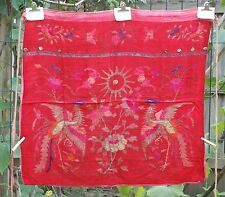 """Antique Chinese Embroidery / Embroidered Fabric Textile Panel 31""""x 29"""""""