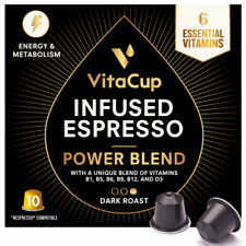 VitaCup for Nespresso Power Blend Espresso Capsules, Dark Roast, 10 Capsules