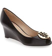 New $265 Tory Burch Kara Black Leather Open Toe Wedge Pump 7