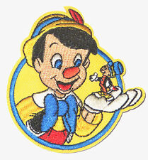 "3.5"" Disney's Pinocchio & Jiminy Cricket Embroidered Iron On / Sew On Patch"
