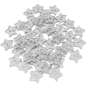 Silver 13mm Glitter Star Shape Resin Buttons Embellishments - Pack of 50