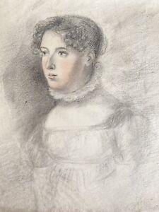 Antique Drawing In Conté Crayon, Portrait, Lady, Woman, Circa 1810