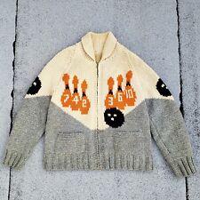 Vtg 50s Bowling Wool Shawl Collar Sweater Zip Up Cardigan Hand Knit Workwear