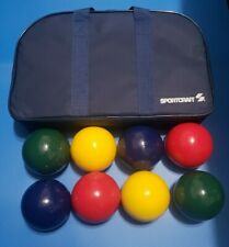 Sportcraft Bocce Ball Set Red Yellow Green Blue Carry Case and Instructions