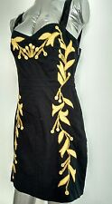 FREE PEOPLE embroidered black fitted dress size 10 --MINT-- Cotton fully lined
