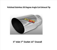 "507015AC Polished Stainless Exhaust Tip Angle Cut Weld On 5"" IN 7"" Out"